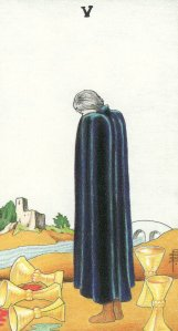 The 5 of Cups, from the Universal Waite Tarot.