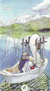 The 6 of Swords, from the Robin Wood Tarot. One of my favorite depictions, due to ferryman taking on the role of the unseen spiritual forces at work guiding and leading us during our times of transition.