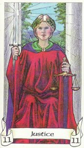 The Justice card of the Robin Wood Tarot was prominently featured in a dream I had this morning.
