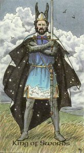 The King of Swords, from the Robin Wood Tarot by Robin Wood.