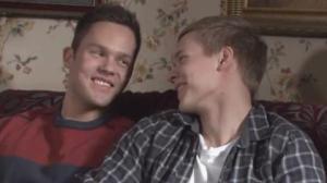 """The couple that's become a phenomenon on YouTube: Lari Väänänen (played by Ronny Roslof, left) and Elias Vikstedt (played by Petteri Paavola, right) on """"Salatut Elämät."""""""