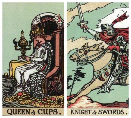 Queen of Cups-Knight of Swords-Original Rider Waite