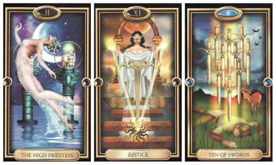 Your Week in Tarot: The High Priestess, Justice, and 10 of Swords, from the Gilded Tarot by Ciro Marchetti.