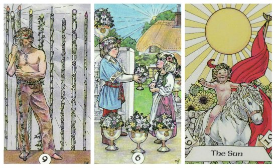 Your Week in Tarot: 9 of Wands, 6 of Cups, and The Sun, from the Robin Wood Tarot by Robin Wood.