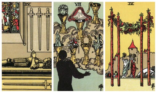 Your Week in Tarot: 4 of Swords, 7 of Cups, and 4 of Wands, from the Original Rider Waite Tarot.
