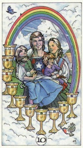 Having the 10 of Cups re-appear as the card of the day allowed my intuition to have its say about the meaning of the card this time. (Card is from the Robin Wood Tarot by Robin Wood.)