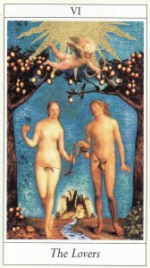 The Lovers, from the Lovers Tarot, by Jane Lyle and Oliver Burston.