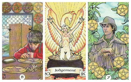 Your Week in Tarot: 8 of Pentacles, Judgement, and 7 of Pentacles, from the Robin Wood Tarot by Robin Wood.
