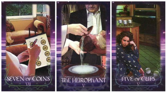 Your Week in Tarot: 7 of Coins, The Hierophant, and 5 of Cups, from the Tarot of the Lotus Circle by Marilyn Campbell.