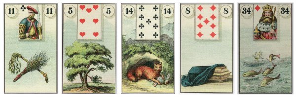 Whip, Tree, Fox, Coffin, and Fish, from the Dondorf Lenormand.