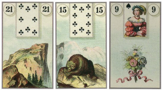 My Daily Draw, from the Dondorf Lenormand: Mountain, Bear, and Bouquet.