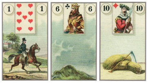 The cards in this morning's daily draw: Rider, Clouds, and Scythe, from the Dondorf Lenormand.