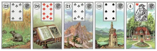 Mice, Book, Mountain, Tower, and House, from the Piatnik Lenormand.