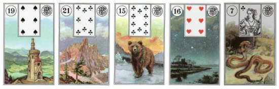 The weekly outlook: Tower, Mountain, Bear, Stars, and Snake, from the Piatnik Lenormand.
