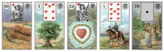 The cards of the week: Scythe, Tree, Heart, Rider, and Woman, from the Piatnik Lenormand.