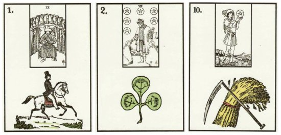 Rider, Clover, and Scythe, from the New York Lenormand by Robert M. Place.