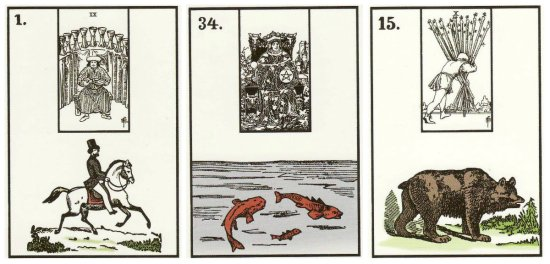 Your cards for the week: Rider, Fish, and Bear, from the New York Lenormand, published by Robert M. Place.