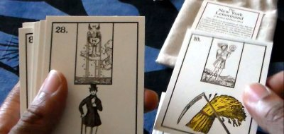 The New York Lenormand brings Tarot into the deck by replacing the playing card inserts with Minor Arcana cards.