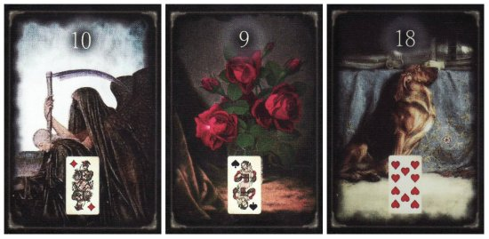 Scythe, Bouquet, and Dog, from the Unforgettable Lenormand.