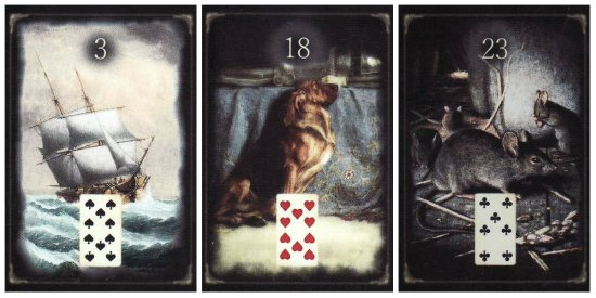 Ship, Dog, and Mice, from the Unforgettable Lenormand by Teri Smith of Divine Walks.