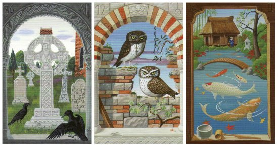 From the Mystical Lenormand: Cross, Owls, and Fish.