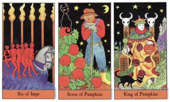 6 of Imps, 7 of Pumpkins, and King of Pumpkins, from the Halloween Tarot by Karin Lee & Kipling West.