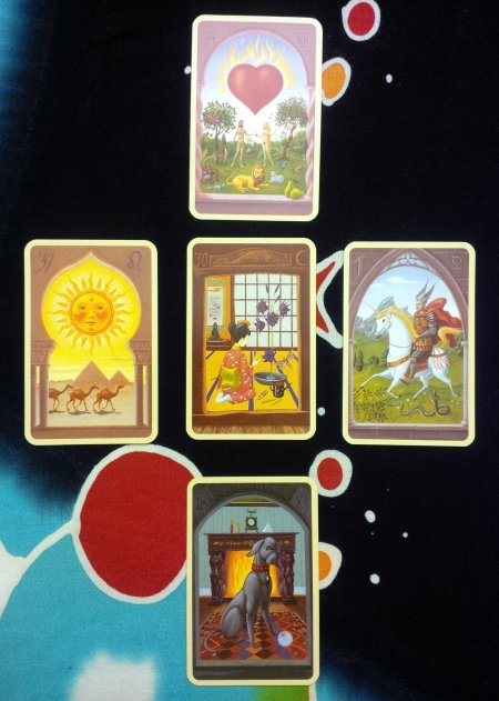 Coming Full Circle: Lilies (Center); Heart, Sun, Dog, and Rider (counterclockwise, respectively), from the Mystical Lenormand.
