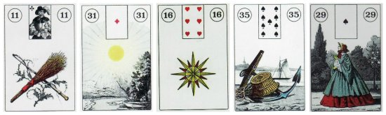 Whip, Sun, Stars, Anchor, and Lady, from the Wanderwust Lenormand.