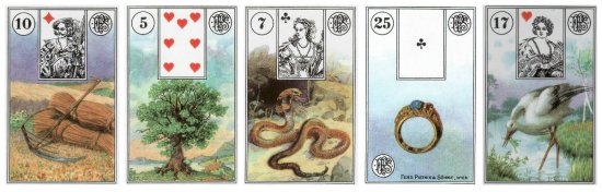 Your Weekly Outlook: Scythe, Tree, Snake, Ring, and Stork, from the Piatnik Lenormand.