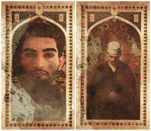 The Alternate Man (left) and the traditional Man (right) cards of the Old Arabian Lenormand by Neil Lovell of Malpertuis Designs.
