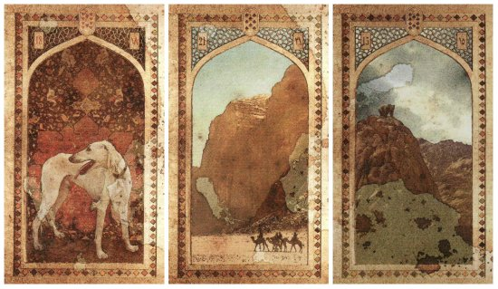 The cards for candidate Leon Stavrinakis: Dog, Mountain, and Bear, from the Old Arabian Lenormand.