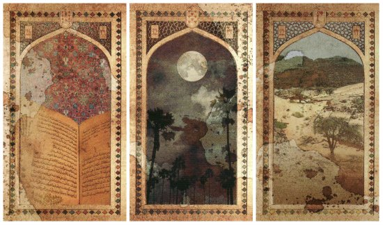 The cards for candidate John Tecklenberg: Book, Moon, and Paths, from the Old Arabian Lenormand.