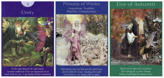 The cards for the week: Unity, Princess of Winter, and 5 of Autumn, from the Fairy Tarot Cards.