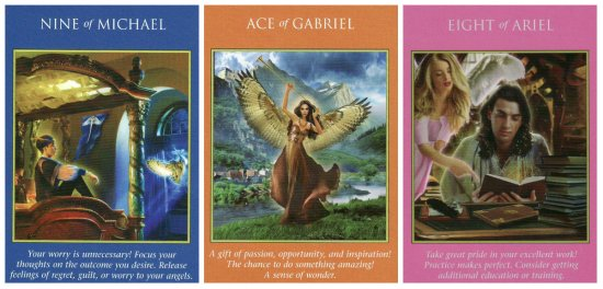 Our cards for the week: 9 of Michael, Ace of Gabriel, and 8 of Ariel, from the Archangel Power Tarot Cards.