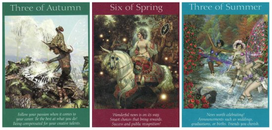 Your Week in Tarot: 3 of Autumn, 6 of Spring, and 3 of Summer, from the Fairy Tarot Cards.