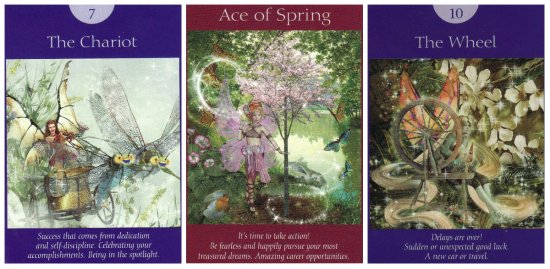 Your Week in Tarot: The Chariot, Ace of Spring, and The Wheel, from the Fairy Tarot Cards.