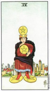 4 of pentacles-universal waite