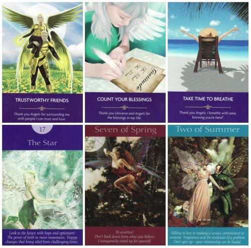 My angel card reading, using the Angel Prayers Oracle Cards (top row) and the Fairy Tarot Cards (bottom row). Both decks are published by Hay House.