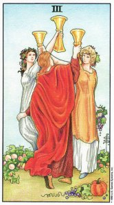 3 of Cups, from the Universal Waite Tarot by A. E. Waite & Pamela Colman Smith, and colored by Mary Hanson-Roberts. Published by U. S. Games Systems, Inc.