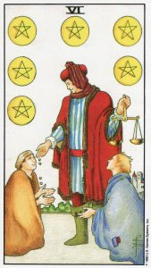 6 of pentacles-universal waite