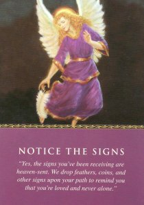 Notice the Signs, from the Daily Guidance from Your Angels Oracle Cards. Artwork is by Marius Michael-George.