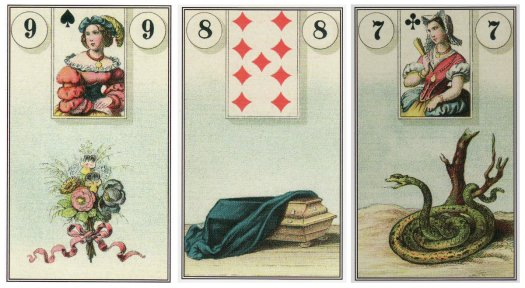 Bouquet, Coffin, and Snake from the Dondorf Lenormand. Cards are from the Easy Lenormand set by Marcus Katz & Tali Goodwin, published by Llewellyn.