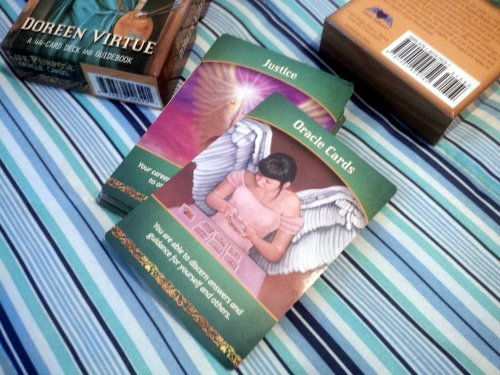 I received a sign from the angles familiar to me--in preparation for this very blog post. Pictured: the Life Purpose Oracle Cards.