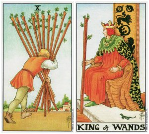 10 of wands and king of wands