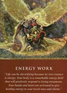 Energy Work, from the Daily Guidance from Your Angels Oracle Cards. Artwork by Steve A. Roberts.