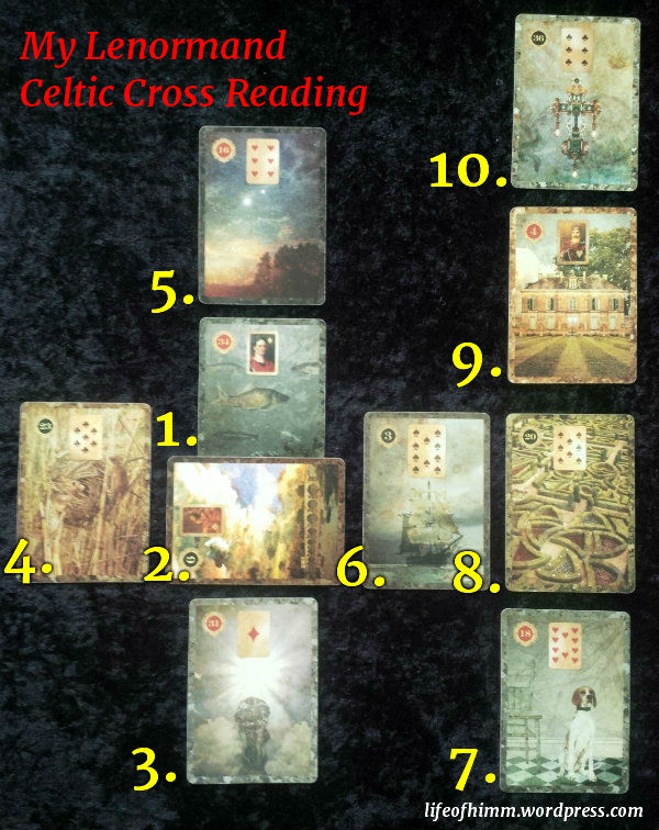 My Lenormand reading using the Celtic Cross Spread. Cards are from the Malpertuis Lenormand by Neil Lovell of Malpertuis Designs Ltd.