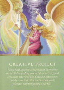 Creative Project, from the Daily Guidance from Your Angels Oracle Cards. Artwork is by Eva Sullivan.