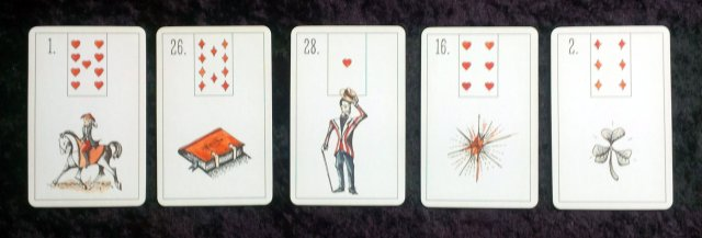 Rider, Book, Gentleman, Stars, and Clover from the Maybe Lenormand by Ryan Edward.