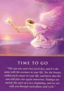 Time to Go, from the Daily Guidance from Your Angels Oracle Cards. Artwork is by Marius Michael-George.