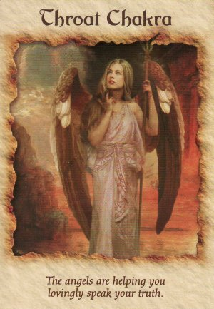 Throat Chakra, from the Angel Therapy Oracle Cards. Artwork by Howard David Johnson.